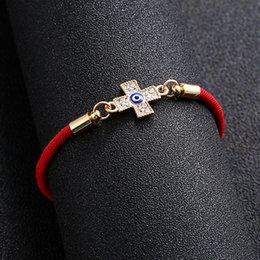 $enCountryForm.capitalKeyWord Australia - New Red Lucky Rope Bracelet Eye Braided Bracelet Bohemian Fatima Hand Evil Eye Cross Jewelry Wholesale