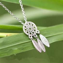 silver dreamcatcher necklace Australia - S925 silver jewelry gift Dreamcatcher feather Japan folk style retro short clavicular Necklace Pendant female