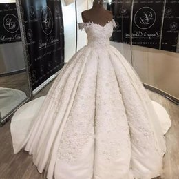 wedding chocolate saudi 2020 - 2019 Romantic Middle East Country Wedding Dresses Saudi Arabia A Line Satin Long Train Off Shoulders Wedding Bridal Gown
