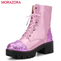 $enCountryForm.capitalKeyWord Australia - MORAZORA 2020 new style ankle boots for women lace up warm platform boots fashion punk casual square heels shoes
