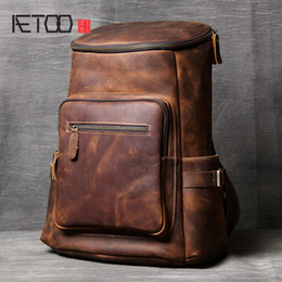 Man Leather Travel Bags NZ - AETOO Handmade leather Shoulder Bag original head cowhide Backpack men and women mountaineering bag mad horse Skin travel
