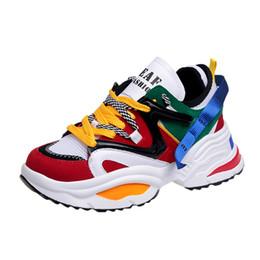 Moda 2019 Harajuku Mujeres Zapatos casuales con cordones Papá Zapatillas de  deporte Chunky Piso Suela gruesa Tenis Cuña Blanco Canasta Caminar 1d792febf2dc