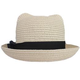 $enCountryForm.capitalKeyWord Australia - Women's Girl's Vintage Cat Ear Bowler Straw Hat Sun Summer Beach Roll-up Bowknot Cap