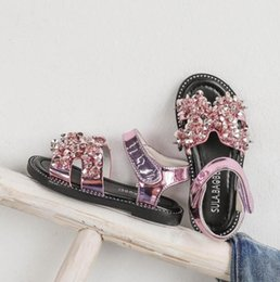baby girl cute sandals Australia - Summer Baby Girls Princess Sandals Fashion Cute Pink Bling Shiny Rhinestone Toddler Shoes Kids Flat Sandals Children Beach Shoes