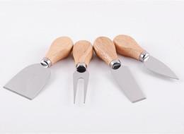 $enCountryForm.capitalKeyWord Australia - 4pcs set Cheese Useful Tools Set Oak Handle Knife Fork Shovel Kit Graters For Cutting Baking Chesse Board Sets