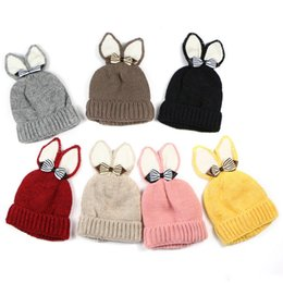 $enCountryForm.capitalKeyWord Australia - Winter Children lovely Beanie Knit hat Bunny ears Bow warm hat Outdoor Cotton Boutique 7colors 2019 Winter