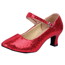 Ballroom Latin Tango Shoes UK - Designer Dress Shoes Women's Pumps Spring Summer Mid-High Heels Glitter Ballroom Latin Tango Rumba Dance Wedding Sapato Feminino