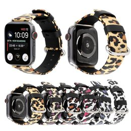 Fashion Leopard Watches Australia - Genuine Leather Watchband For Apple Watch Size 38 40mm 42 44mm Fashion Leopard Printing Replacement Band Strap for iwatch Series 1 2 3 4