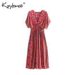 f67a6f1c0daf Boho Chic Summer Vintage Floral Print Pleated Maxi Dress Women Fashion V  Neck Short Sleeve Beach Dresses Femme Vestidos Q190523