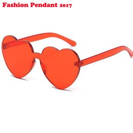 rimless lens shapes UK - 2019 Love Heart Shape Sunglasses Women Candy Color Rimless Tint Clear Lens Glasses Red Pink Yellow Shades UV400 dhl shipping