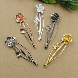 flower hair clip vintage Australia - 20pcs 65MM Metal flora flower barrettes silver bobby pin hairpin rose gold hairclip fashion floral hair clip hairwear vintage ethnic jewelry
