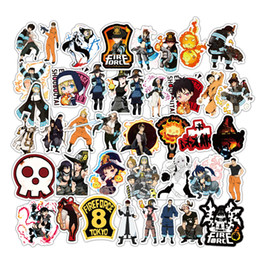 Discount guitars fire 50 PCS Skateboard Sticker fire of force For Car Laptop Suitcase Luggage Guitar PVC Decal Phone Bicycle Fridge Motorcycle