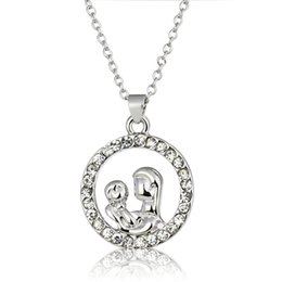 $enCountryForm.capitalKeyWord Australia - Silver Mother Hold Baby Pendant Necklace With Austrian Crystal Gift For Mom Mother'S Day Gift Jewelry K3316
