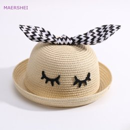 92197fcaff2be MAERSHEI Children s summer straw hat boy rabbit ear basin hat baby sun  visor sunscreen Korean sun hat