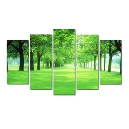 $enCountryForm.capitalKeyWord UK - 5 Pcs Combinations HD Fantasy Green storm Forest Pattern Unframed Canvas Painting Wall Decoration Printed Oil Painting poster
