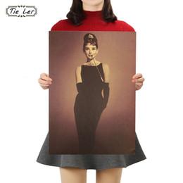 Audrey Hepburn Decor Australia - TIE LER Audrey Hepburn Vintage Kraft Paper Classic Nostalgia Poster Home Decor Wall Sticker 50.5X35cm