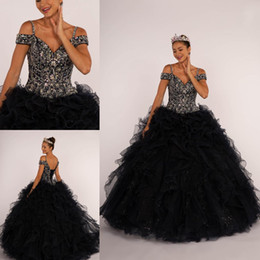 apple portrait 2019 - Sexy Black Glittery Crytal Ruffles Ball Gown Quinceanera Prom dresses Cold shoulder Corset Tulle Sequin Princess Cheap S