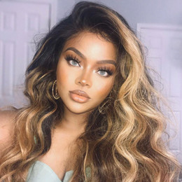 Dark root human hair online shopping - Honey Blonde Lace Front Wig Glueless Full Lace Wigs Human Hair Ombre Wig Black Roots B Body Wave Brazilian Virgin Hair