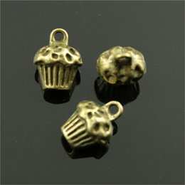 Cupcake Making Australia - 100pcs 3D Cake Pendant Charms For Jewelry Making 2 Colors Antique Bronze Antique Silver Cupcake Charms Charm 3D Cupcake 13x10x8mm
