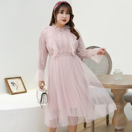 Women's Spring Long Chifon Lace French Eustoma Mesh Dress Plus Size Casual Cute Dress 100Kg can wear T200526