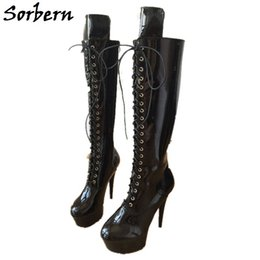 ed3fcda31d71 Sorbern Goth Punk Bling Shoes Women Platform Boots Heel Booties Fall  Fashion Womens Shoes Knee High Lace Up 15Cm High Heels
