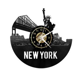 york gifts UK - New York Cityscapes Vinyl Record Wall Clock Home Fashion Retro Decor Handmade Art Personality Gift (Size: 12 inches, Color: Black)