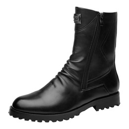 boots and workwear UK - Hip-Up Shoes Men's Korean Edition Fashion British Style Retro Workwear Boots Fashion Men's Shoes and Leather Boots Male Martin