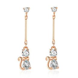 Copper earrings online shopping - MYBEBOA Genuine Elegant Cat Stud Earrings for Women Clear CZ Fine Jewelry