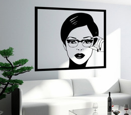 $enCountryForm.capitalKeyWord UK - Sexy Girl Woman Teen Wall Stickers In Glasses Pop Art Bedroom Wall Decal Design Self-adhesive Wallpaper Removable Mural