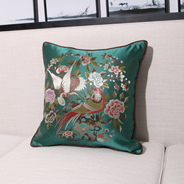decorative throw pillows birds 2019 - Luxury Flower Bird Design Silk Jacquard Cushion Cover Pillow Cover Pillowcase Home Decorative Sofa Throw Pillow Living R