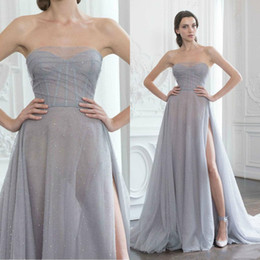 Silver Beaded Wrap Australia - Paolo Sebastian 2019 Silver Prom Dresses Sexy Side High Slit Illusion Sweetheart Strapless Major Beaded Long Formal Evening Gowns Train