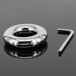 testicle scrotum toys 2019 - Male Stainless Steel Scrotum Rings Penis Rings Scrotum Pendant Testicle Ball Stretcher Chastity Belt Cockring Sex Toys F