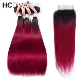 $enCountryForm.capitalKeyWord Australia - Ombre Bundle With Closure T1B Burgundy 3 Bundles With Closure Two Tone Dark Roots Wine Red Human Hair Weave Bundles Brazilian Virgin Hair