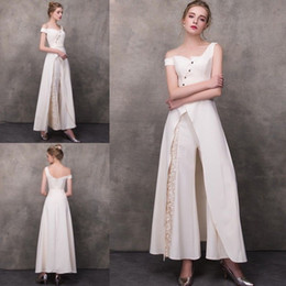 Ivory Satin Lace Women's Clothing Pants Suits Evening Dresses Cheap Cocktail Party Dress Formal Outfit Custom Ankle Length