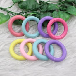 Pendant Connector Rings UK - Fashion Beads 20pcs lot Mixed color Wood pendant connectors Jewelry Making Findings Circle Ring For DIY Jewelry fingdings 34mm K04490