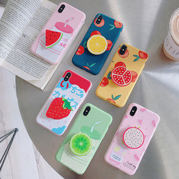 Wholesale Fruit Cell Phone Cases With Holders Summer Silicone Case Universal Mobile Mounts For iPhone xs max s xr plus Samsung Galaxy