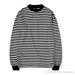 mens long sleeve summer tees Australia - Casual Tshirt Turtleneck Striped Loose Fit Long Sleeve Top Homme Tees Mens Summer Designer