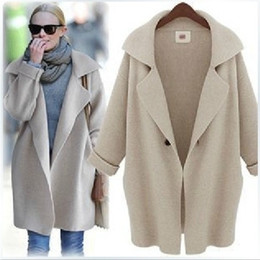 sequin ponchos Australia - Womens fashion coats long sleeve plus big size clothing casual wool coat ponchos Outerwear winter woollen sweater Coats 272