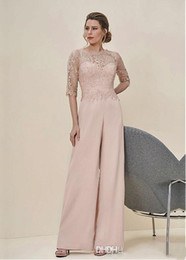 lace mothers wedding pant suit NZ - New Arrival 2019 Jumpsuits Lace Half Sleeves Wedding Guest Dress Zipper Back Long Mother Of The Bride Pant Suits