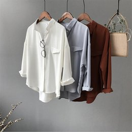 high collar white blouses NZ - High Quality Casual Chiffon White Women Blouse Oversized Three Quarter Sleeve Loose Shirt Office Wear Casua Tops Blusas Q190509