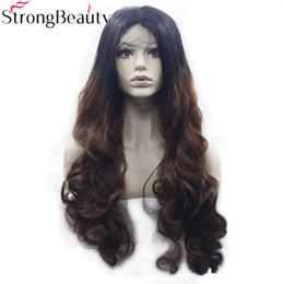 $enCountryForm.capitalKeyWord Australia - Long Wavy Blak Brown Wig Synthetic Ombre Black to Auburn Lace Front Two Tone Wig