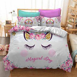 $enCountryForm.capitalKeyWord Australia - Magical Cartoon Cute Unicorn Duvet Cover Set For Kids Adults Colorful Bedspread Pillowcase Duvet Cover Sets Twin Full King Size