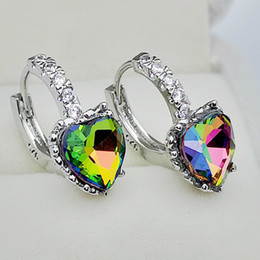Multi Tourmaline Australia - New Fashion White Gold Multi-color Princess Cut Heart Tourmaline Leverback Earrings Diamond Zirconia Wedding Engagement Earrings Wholesale