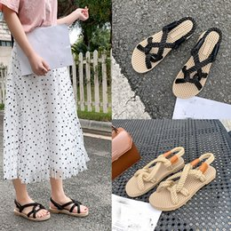 strap sandles Australia - xiniu Women's Hollow Flat Low Sandals Grass Woven Sole Beach Shoes Open Toe shoes Women's Vintage Comfort Sandles #0415