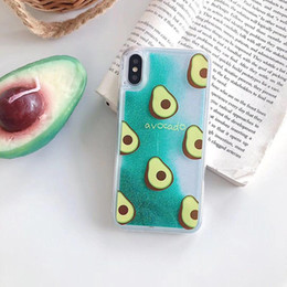 pineapple case for iphone NZ - YunRT Cute Avocado Glitter Quicksand Pineapple Phone Case For iphone X XR XS MAX Liquid Cover For iphone 6S 6 7 8 Plus
