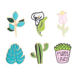 $enCountryForm.capitalKeyWord Australia - Calla Lily Pins and Brooches Succulent Plant Tulip Lapel Pin Badge Cartoon Enamel Pins Leaves Cactus Metal Brooch Denim Needle