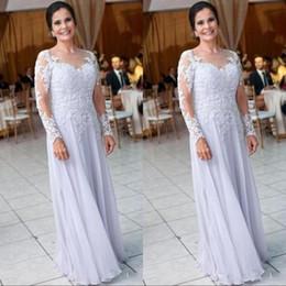 $enCountryForm.capitalKeyWord Australia - Beach Chiffon Long Sleeve Mother Dresses for Wedding Lace Appliques Sequins Mother of the Bride Dress Women Formal Wear BA9248
