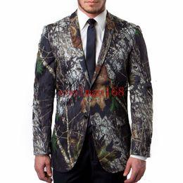 fa925541 Popular Camouflage Groom Tuxedos Notch Lapel Men Wedding Tuxedo Fashion Men  Jacket Blazer Men Prom Dinner Darty Suit(Jacket+Pants+Tie) 1532