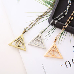 movie tin signs wholesale NZ - 30pc hollow Geometric round Time Rotating circle Harry Triangle pendant chain Necklace Multi-layer Rotatable Movie sign necklace jewelry