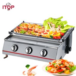 $enCountryForm.capitalKeyWord NZ - LPG Gas BBQ Grill 3 Burners Barbecue Oven Grill Adjustable Height Smokeless Outdoor Garden Picnic With Stainless Steel Cover